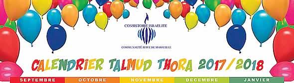 Calendrier Talmud Thora 2017-2018